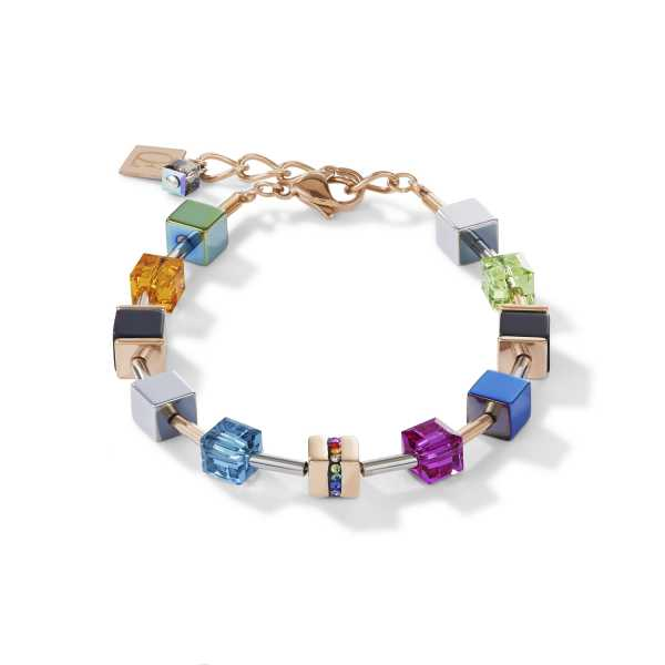 Armband GeoCUBE® Edelstahl & Kristall Pavé, Swarovski® Kristalle & Onyx multicolor