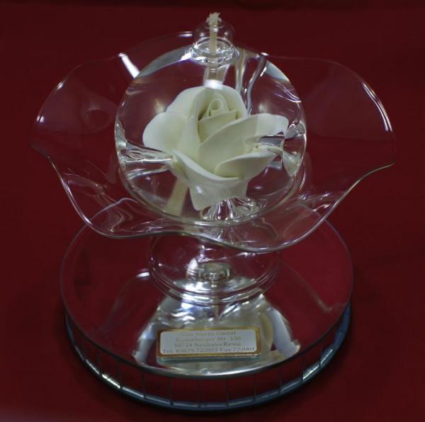 Öllampe mit creme Rose und Glasschale OL_R_C_S