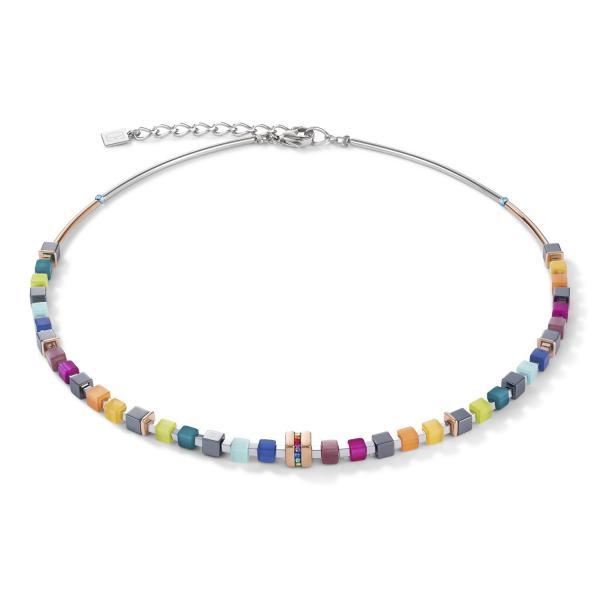 Halskette GeoCUBE® Edelstahl roségold & Kristall Pavé multicolor