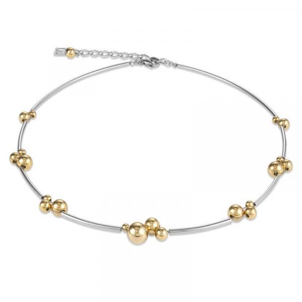 Halskette Kugeln Edelstahl gold-silber