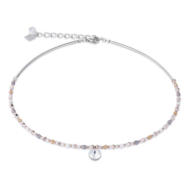 Halskette Swarovski® Kristalle & Edelstahl multicolor natur