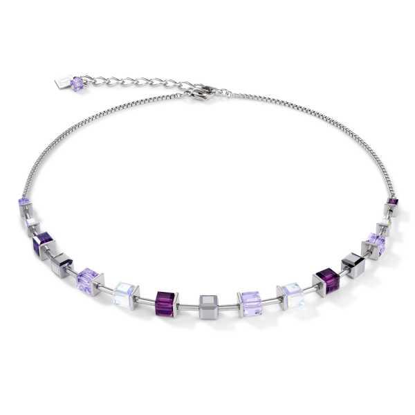 Halskette GeoCUBE® Swarovski® Kristalle & Edelstahl amethyst