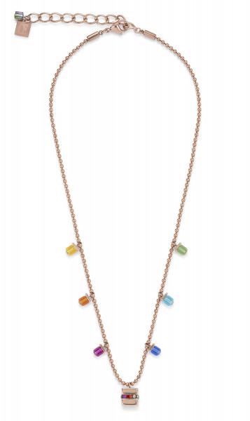Halskette Cube Edelstahl roségold & Kristall Pavé & Swarovski® Kristalle multicolor