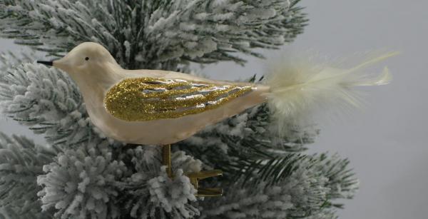 Eischampagner Vogel mit echter Feder