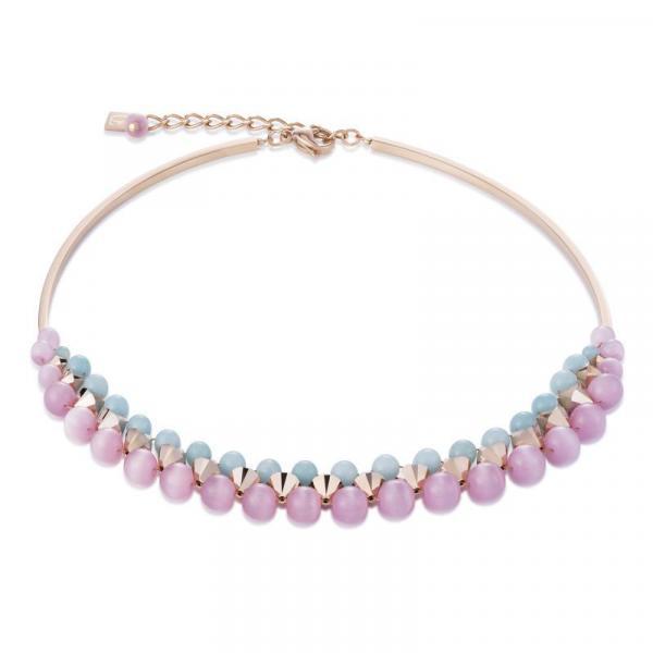 Halskette Amazonit Swarovski® Kristalle & Edelstahl roségold rosa-mint 4946_10-1925