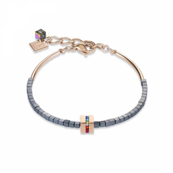 Armband Edelstahl & Kristall Pavé, Hämatit anthrazit, roségold-multicolor