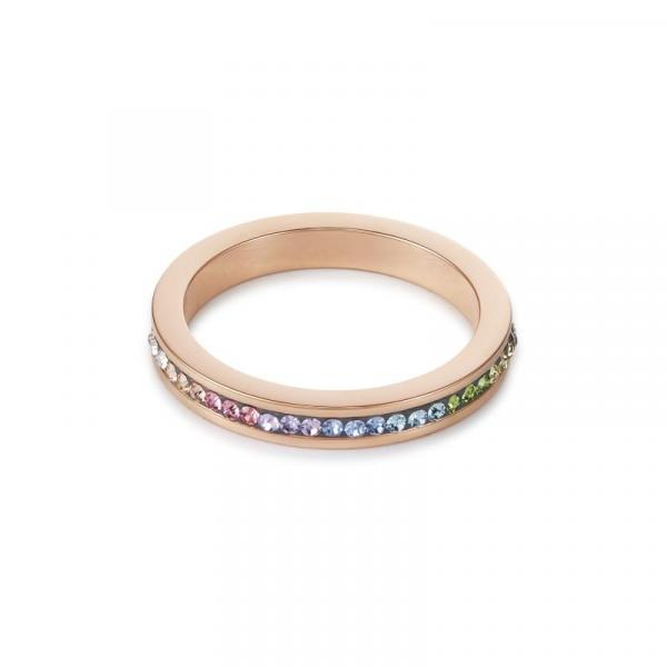 Ring schmal Edelstahl rosegold & Kristalle Pavé multicolor pastell 0229_40-1522_56