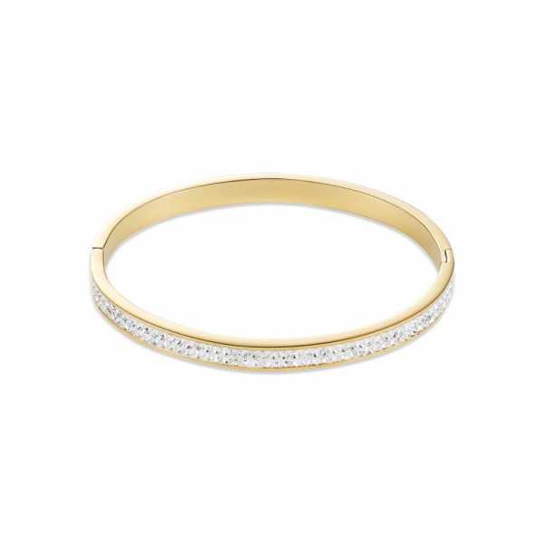 Armreif Edelstahl gold & Kristalle Pavé kristall