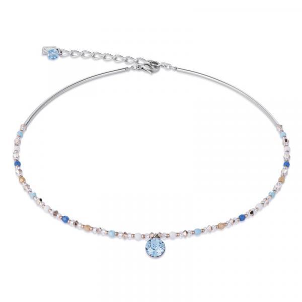 Halskette Swarovski® Kristalle & Edelstahl aqua-blau