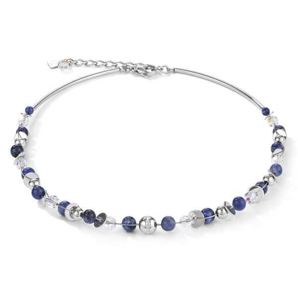 Halskette TwistedPEARLS Sodalith & Edelstahl blau