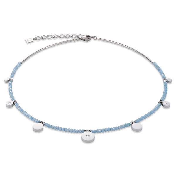 Halskette Coins Edelstahl, geschliffenes Glas & Swarovski® Kristalle hellblau 4990_10-0720