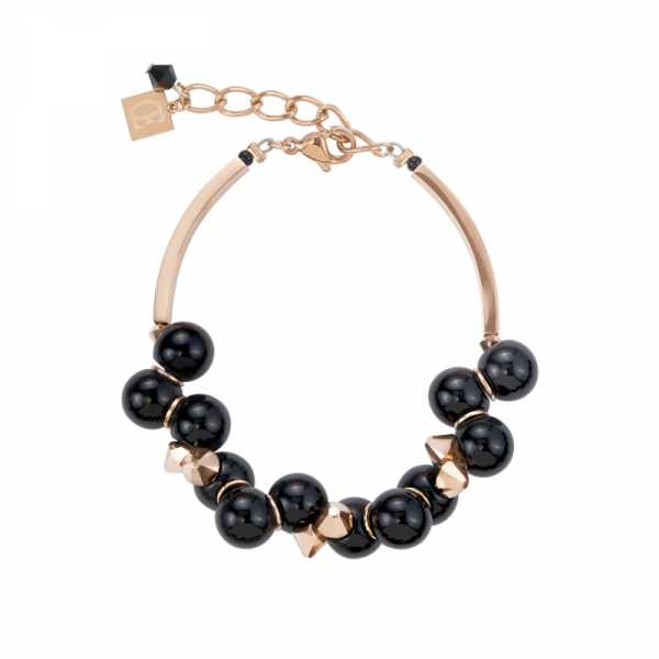 Armband Acrylglas schwarz & Swarovski® Kristalle roségold