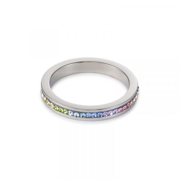 Ring Edelstahl & Kristalle Pavé multicolor pastell