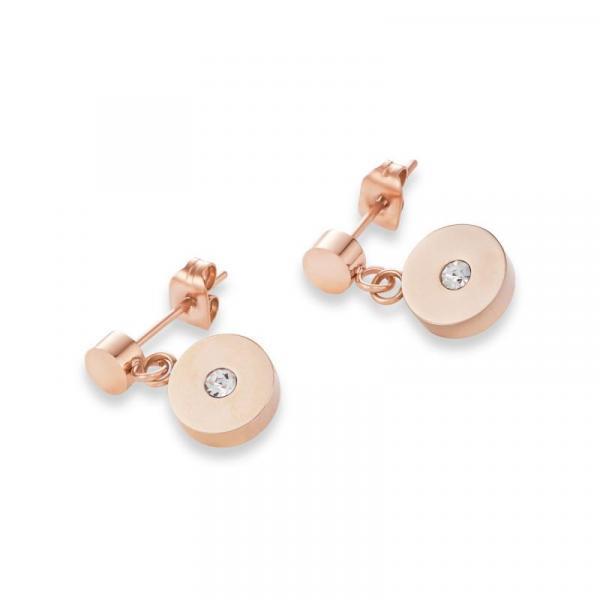 Ohrringe Coins Edelstahl roségold, geschliffenes Glas & Swarovski® Kristalle weiß 4990_21-1400