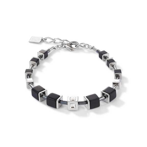 Armband GeoCUBE® Cube Edelstahl & Kristall schwarz-silber