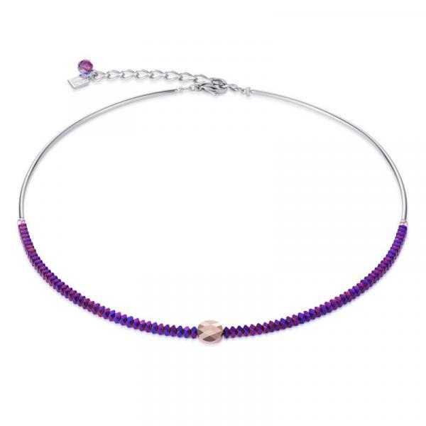 Halskette Hämatit mit Titanoxid-Veredelung & Swarovski® Kristalle lila