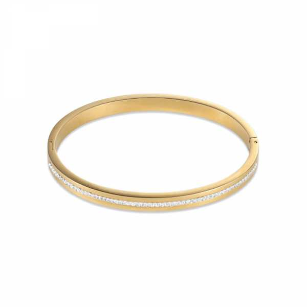 Armreif Edelstahl gold & Kristall Pavé Streifen kristall