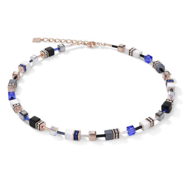 GeoCUBE® Halskette roségold, weiß & blau