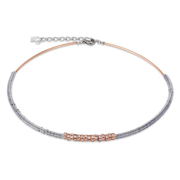 Halskette Hämatit & Strass kristall