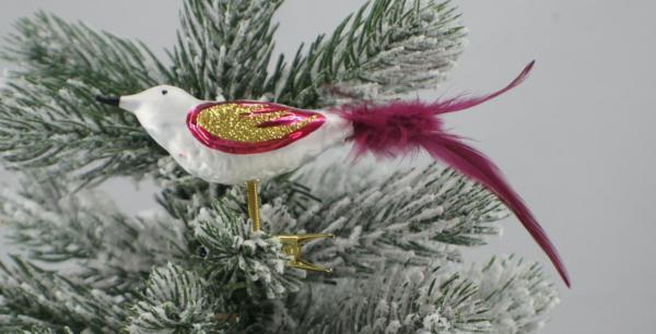 Eisweissbordeaux Vogel mit echter Feder