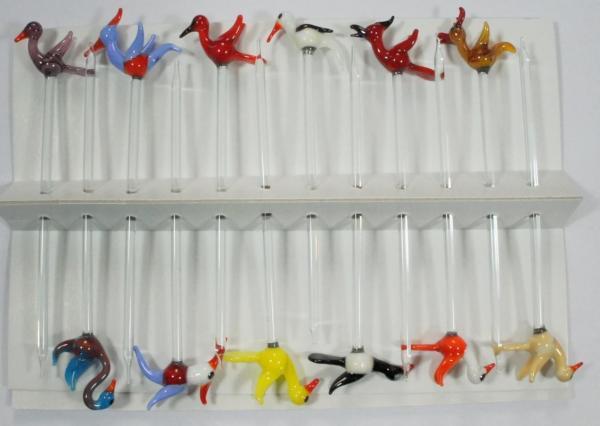 Bowlespieß Vögel bunt sortiert 12er Set