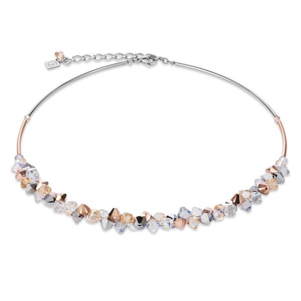 Halskette Swarovski® Kristalle & Edelstahl roségold-silber