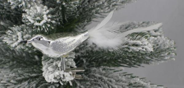 Silber Vogel mit echter Feder