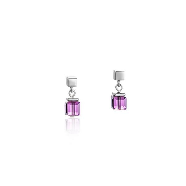 Ohrringe GeoCUBE® Swarovski® Kristalle & Edelstahl amethyst 4996_21-0824
