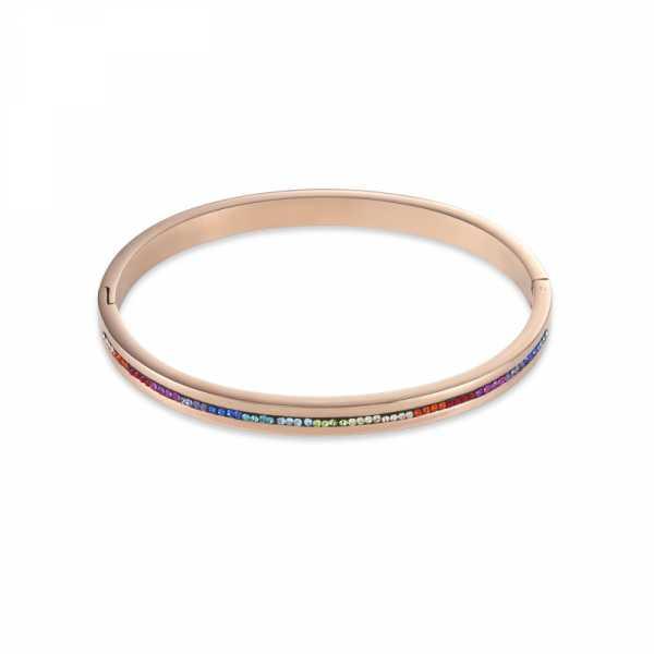 Armreif Edelstahl roségold & Kristall Pavé Streifen multicolor
