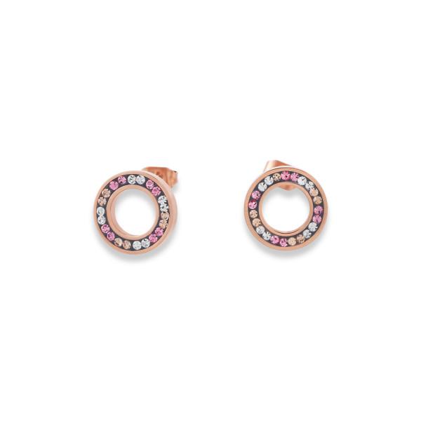 Ohrringe Ring Kristall Pavé rosa small & Edelstahl roségold & silber