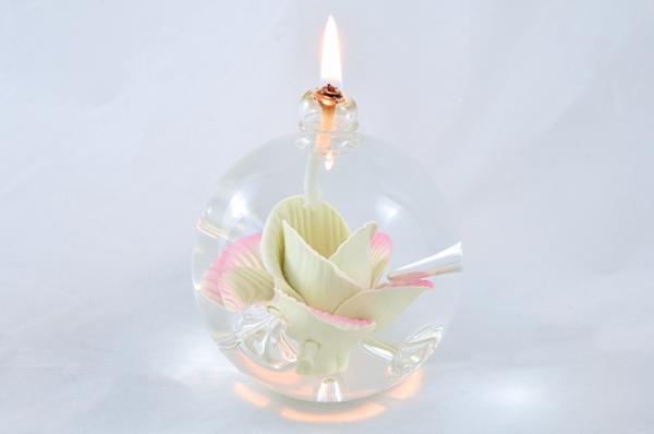 Öllampe mit rosé-gelber Wildrose OL_WR_RG