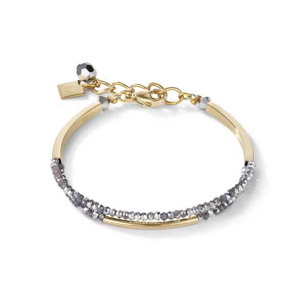 Armband Wasserfall small Edelstahl gold & Glas silber
