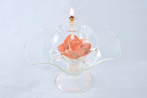 Öllampe mit roter/weißer Rose und Glasschale OL_R_RW_S