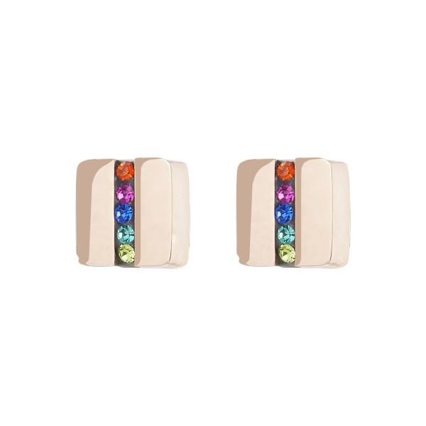 Ohrringe Edelstahl Quadrat roségold & Kristall Pavé Streifen multicolor