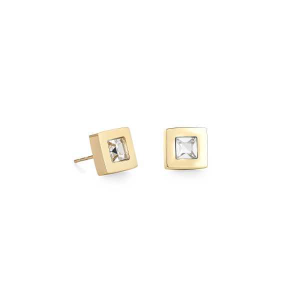 Ohrringe Quadrat Edelstahl gold & Kristall