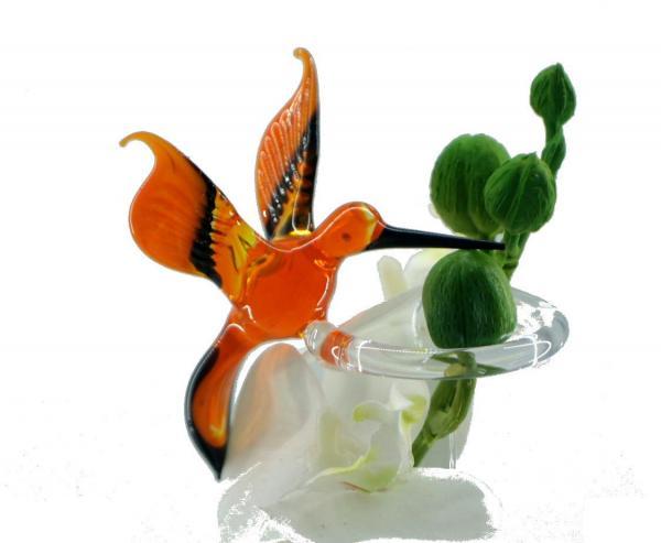 Wundersylphe (orange) Blumenstab / Orchideenstab aus Glas BS_WS1