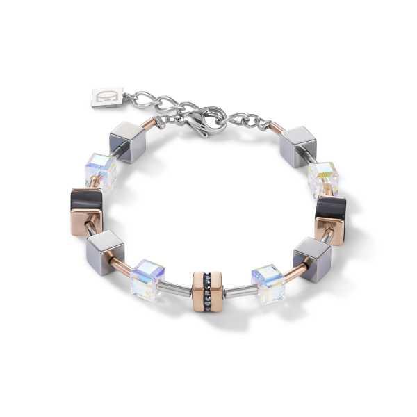 Armband GeoCUBE® Edelstahl & Kristall Pavé, Swarovski® Kristalle & Streifen-Onyx roségold-schwarz