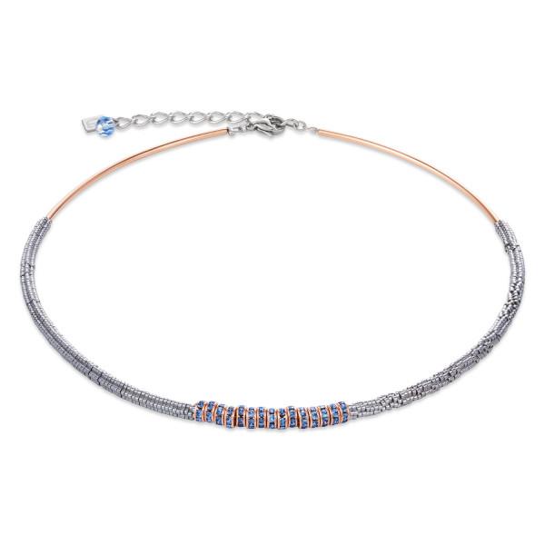Halskette Hämatit & Strass hellblau