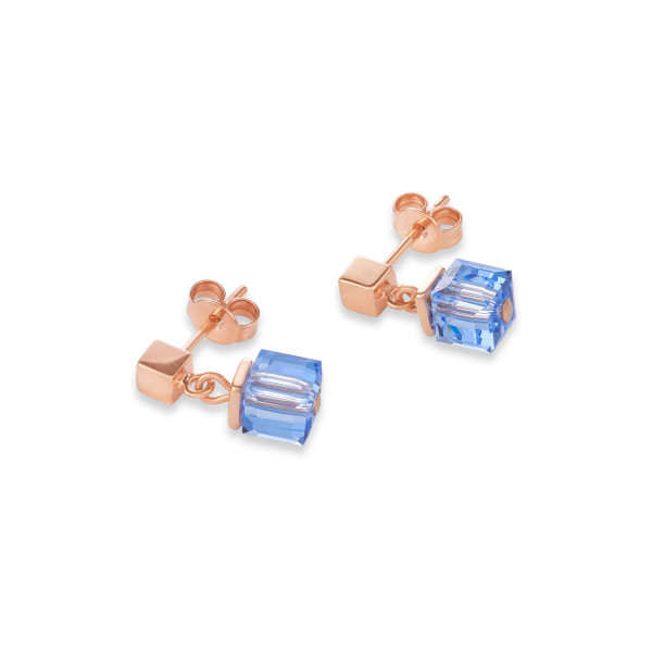 Ohrringe MonochromeBLUE Swarovski® Kristalle & Edelstahl roségold blau