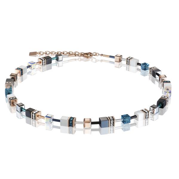 GeoCUBE® Halskette roségold, weiß & petrol