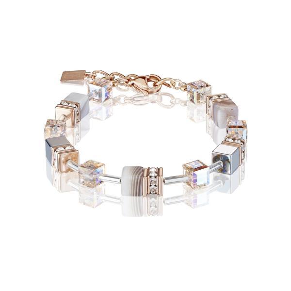 GeoCUBE® Armband Botswana Achat & Hämatit apricot 4017_30-0230