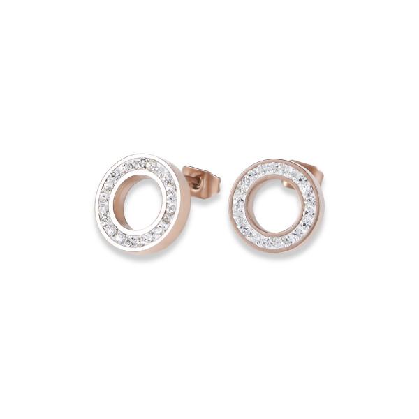 Ohrringe Ring Kristall Pavé kristall small & Edelstahl roségold & silber