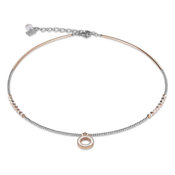 Halskette Ring Kristall Pavé kristall small & Edelstahl roségold & silber