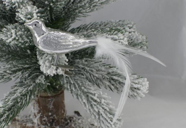 Silber Waldvogel mit echter Feder