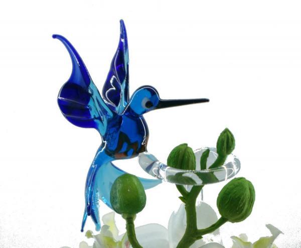 Eisvogel Blumenstab / Orchideenstab aus Glas BS_EV