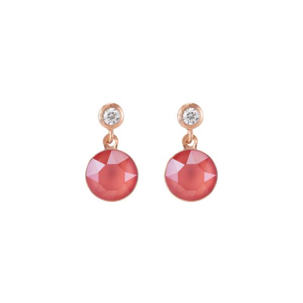 Ohrringe Swarovski® Kristalle & Edelstahl roségold koralle