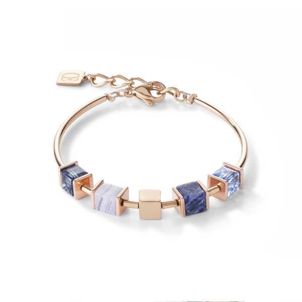 Armband GeoCUBE® & Kette blau