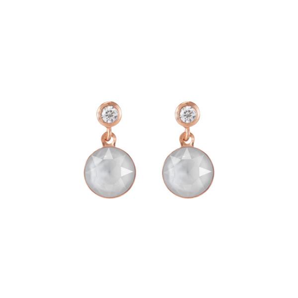 Ohrringe Swarovski® Kristalle & Edelstahl roségold weiß