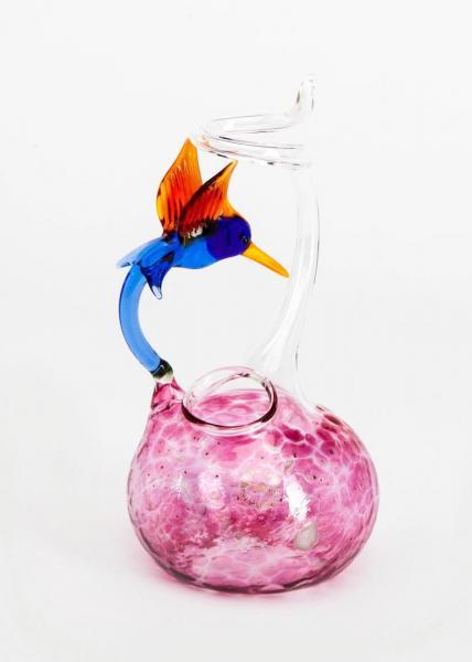 Rosenvase klein mit Kolibri/Vogel und rosa Glasaufschmelzungen BC-RVK-Ro