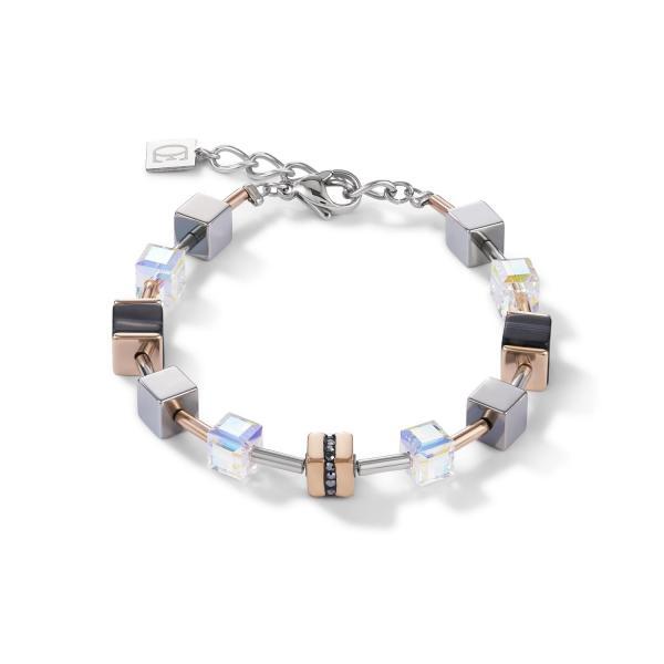 Armband GeoCUBE® Edelstahl & Kristall Pavé, Swarovski® Kristalle & Streifen-Onyx roségold-schwarz 4965_30-1630